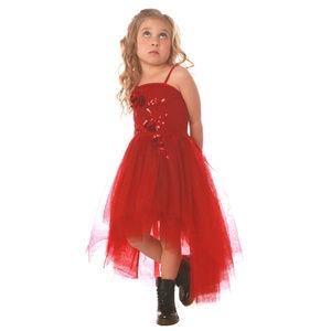 Ooh La La Couture Red Tulle Hi Lo Christmas Dress